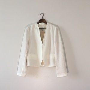 LOFT White Linen Blazer in Size 10